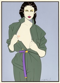 trench coat, playboy illustration by patrick nagel