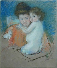 nude dark-eyed little girl with mother in patterned wrapper by mary cassatt