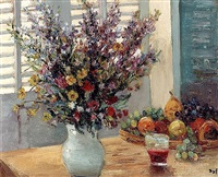 a vase of flowers & fruit on a table by marcel dyf