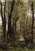 sous-bois, dans le parc de merantais by jean-baptiste-camille corot