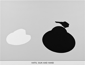 sediment (part two): hats, gun and hand by john baldessari