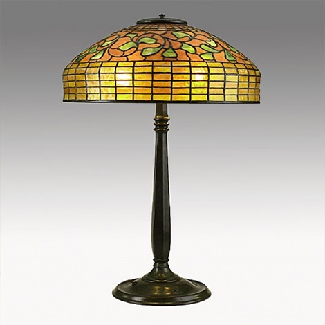 lot no. 470: table lamp with swirling leaf shade by tiffany studios