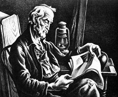 old man reading by thomas hart benton