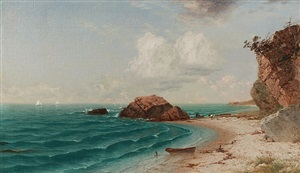 new england coastal scene with figures by john frederick kensett