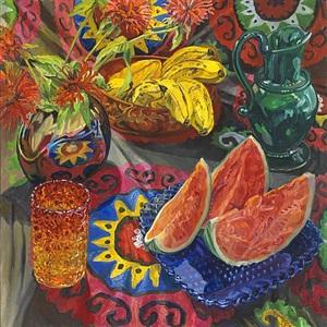 watermelon, bananas, suzani by janet fish