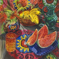 watermelon, bananas, suzani by janet fish