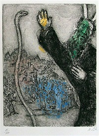 moses & the serpent from the bible by marc chagall