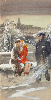 cuddling in the cold, esquire magazine cover, february by e. simms campbell