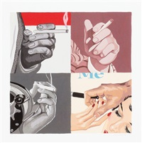 untitled (men's hands, smoking) by julia jacquette