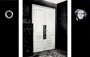 the freud cycle (triptych: peephole, consulting room door, head from shelf) by robert longo