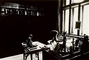 the freud cycle (view of study room with books, desk and window - two parts) by robert longo