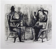two seated figures with children by henry moore