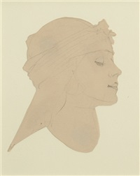 woman in profile by maxfield parrish