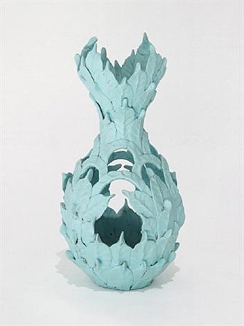 untitled (turquoise leaf vessel) by eugene von bruenchenhein