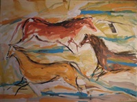 cave #49, morning horses by elaine de kooning