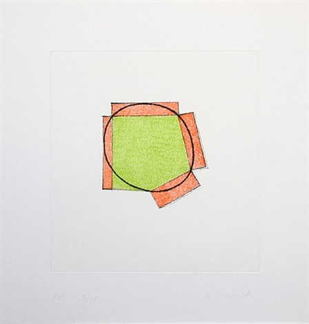 untitled (green ellipse / orange broken frame) by robert mangold