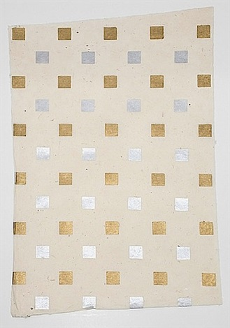 nature morte: small gold and silver squares by sherrie levine