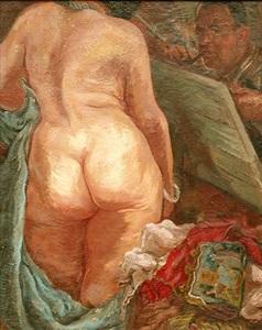 selbstportrait mit akt - selfportrait with nude by george grosz