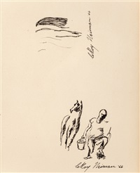 sketch of a horse and his hand by leroy neiman