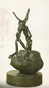 thinker on rock by barry flanagan