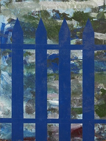 untitled / blue picket fence by per kirkeby