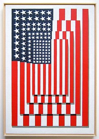 four flags, vertical, #2 by richard pettibone