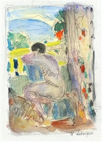 nude on a balcony by henri lebasque
