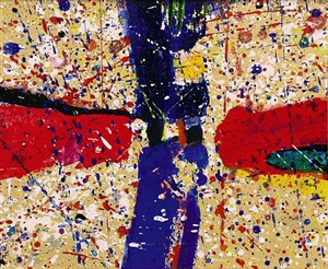 3 (three) figures (american flag) by sam francis
