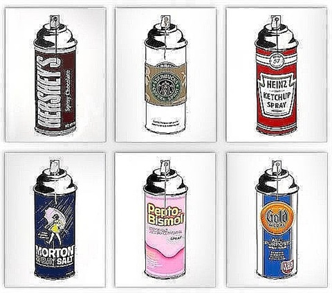 spray cans (complete set of 6) by mr. brainwash