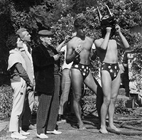 pablo picasso, jean cocteau, catherine hutin-blois, and the dog-men on the set of testament of orpheus, les baux de provence by lucien clergue