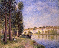 aux bords de la seine by alfred sisley