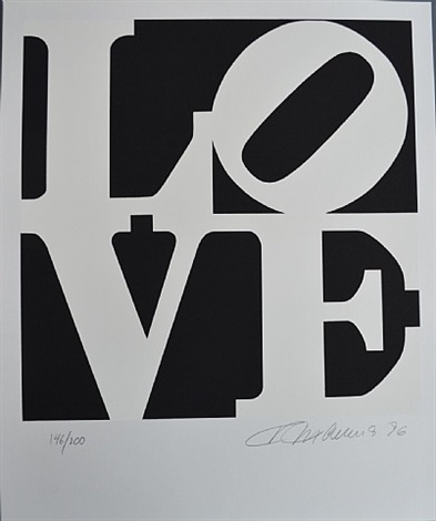 book of love #1 (black and white) by robert indiana