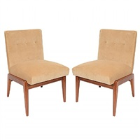 pair of jens risom slipper chairs, circa 1950's by jens risom