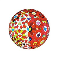 flower ball red the magic flute (3-d) by takashi murakami