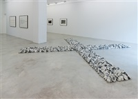flint cross (installation view) by richard long