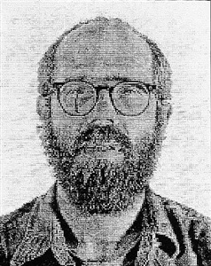 self-portrait, white ink by chuck close