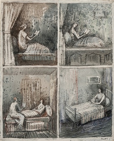 women reading in bed by henry moore