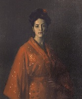 the red kimona (a girl in red) by william merritt chase