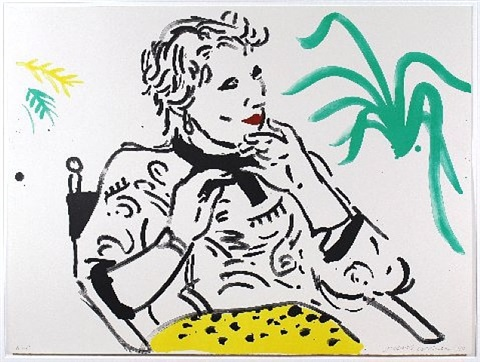 celia with green plant by david hockney