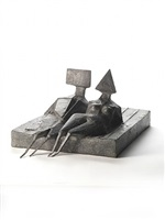 two figures lying on a base ii by lynn chadwick