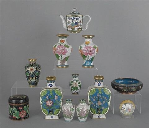 lot no. 375: collection of chinese cloisonné