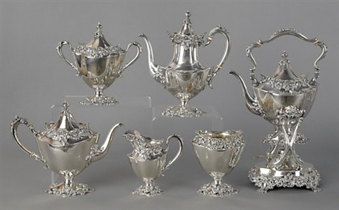lot no. 378: six-piece sterling silver tea service by redlich (co.)
