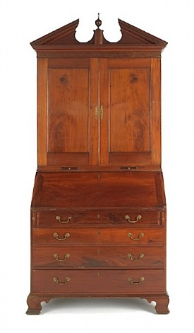 lot no. 933: philadelphia chippendale mahogany secretary desk