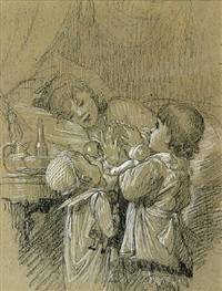 a woman in bed, with two children bringing gifts by timoléon marie lobrichon