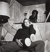 marlon brando, at home with bongos by sid avery