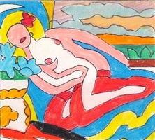 study for sunset nude (red stockings, knees up) by tom wesselmann
