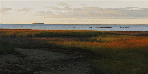 daybreak with faulkner's island (madison) (sold) by peter bergeron