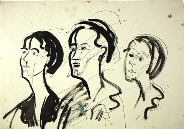 drei weibliche köpfe by ernst ludwig kirchner