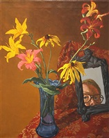 self-portrait with rudbeckias and day lilies by jack beal