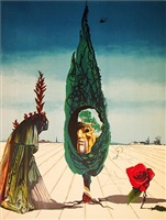 enigma of the rose/death (from visions surrealiste suite of 4) by salvador dalí